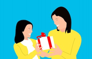 Cartoon of a girl giving a present to her mother