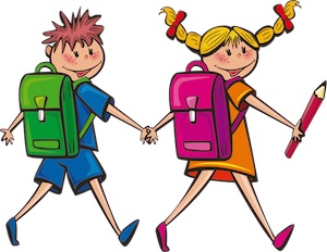 Drawing of a boy and a girl going to school
