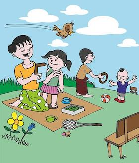 A family in the park, to illustrate the exercise about the Spanish Present Progressive
