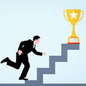 Painting of a man running up a stairway, with a trophy on top