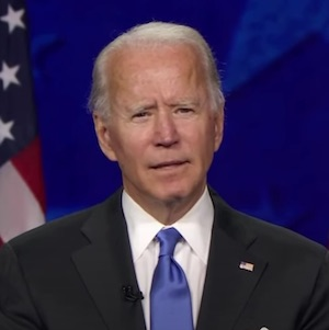 A picture of Joe Biden during his speech at the Convention