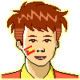 Website Logo, a cartoon child with the Spanish flag painted on his face