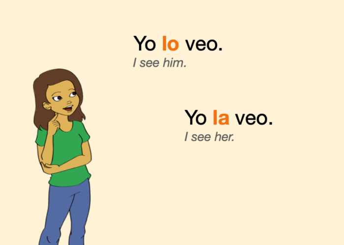 Two sentences with Spanish object pronouns