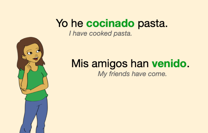 Two sentences with Spanish past participles