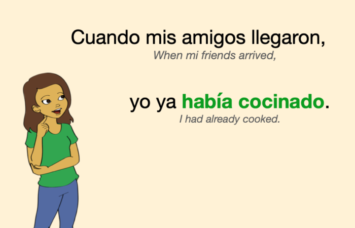 A sentence that includes a verb in Spanish Past Perfect