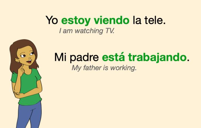 A couple of sentences in Spanish Present Progressive