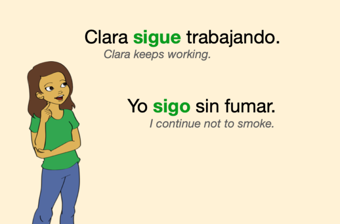 """Two Spanish sentences where """"seguir"""" means to continue, to keep"""