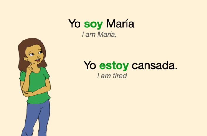 """Two Spanish sentences: one with """"ser"""" and one with """"estar"""""""