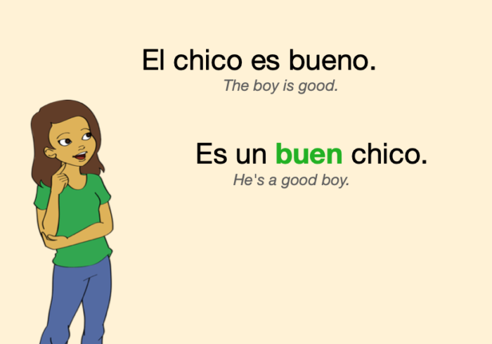 """Example in Spanish: in some cases, the short-form """"buen"""" replaces """"bueno"""""""
