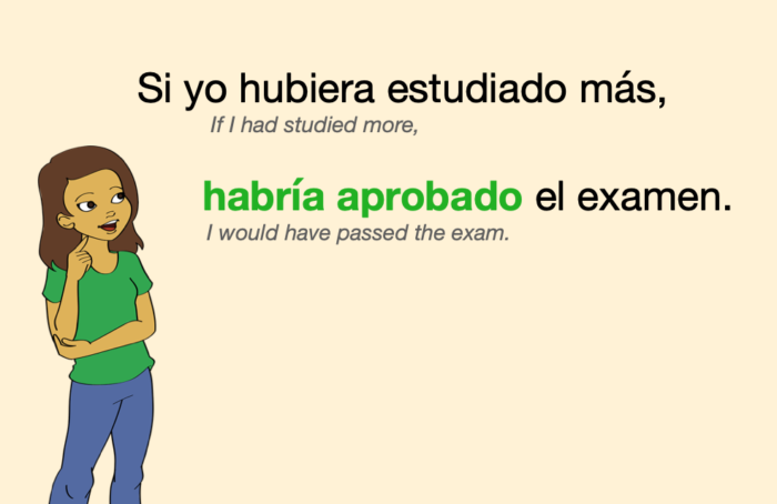 A sentence with a verb in Spanish Conditional Perfect