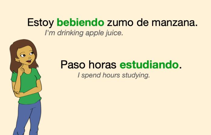 A couple of sentences with Spanish gerundios