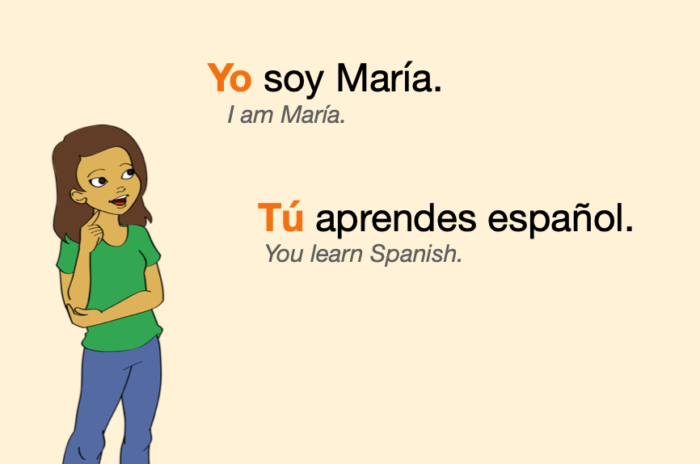 Two sentences with Spanish subject pronouns