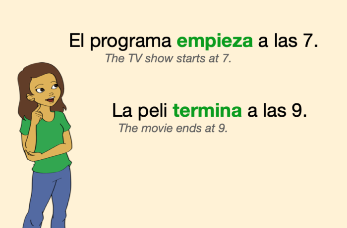 Two sentences with Spanish verbs for beginnings and endings