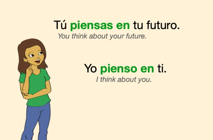 "Two Spanish sentences with ""pensar en"""