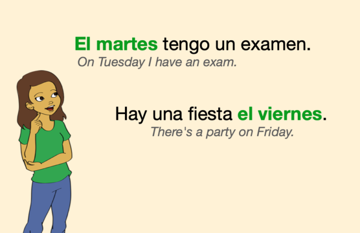 Two Spanish sentences with days of the week