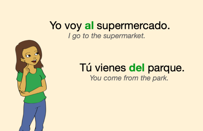 Two sentences with these Spanish contractions