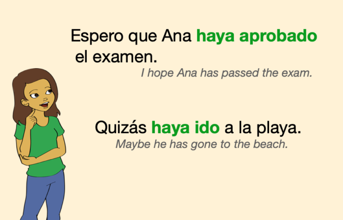 A couple of Spanish sentences with verbs in Present Perfect Subjunctive (in green)